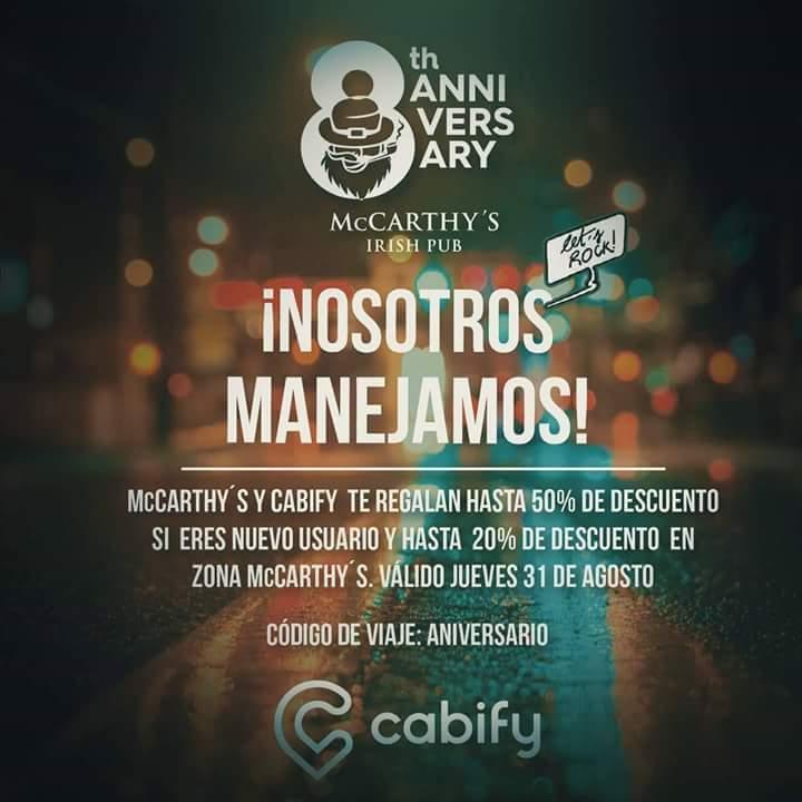 Cabify HASTA 50% descuento en cabify por 8th aniversario de McCarthy's Irish Pub