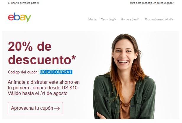 eBay: cupón de 20% de descuento para nuevos usuarios