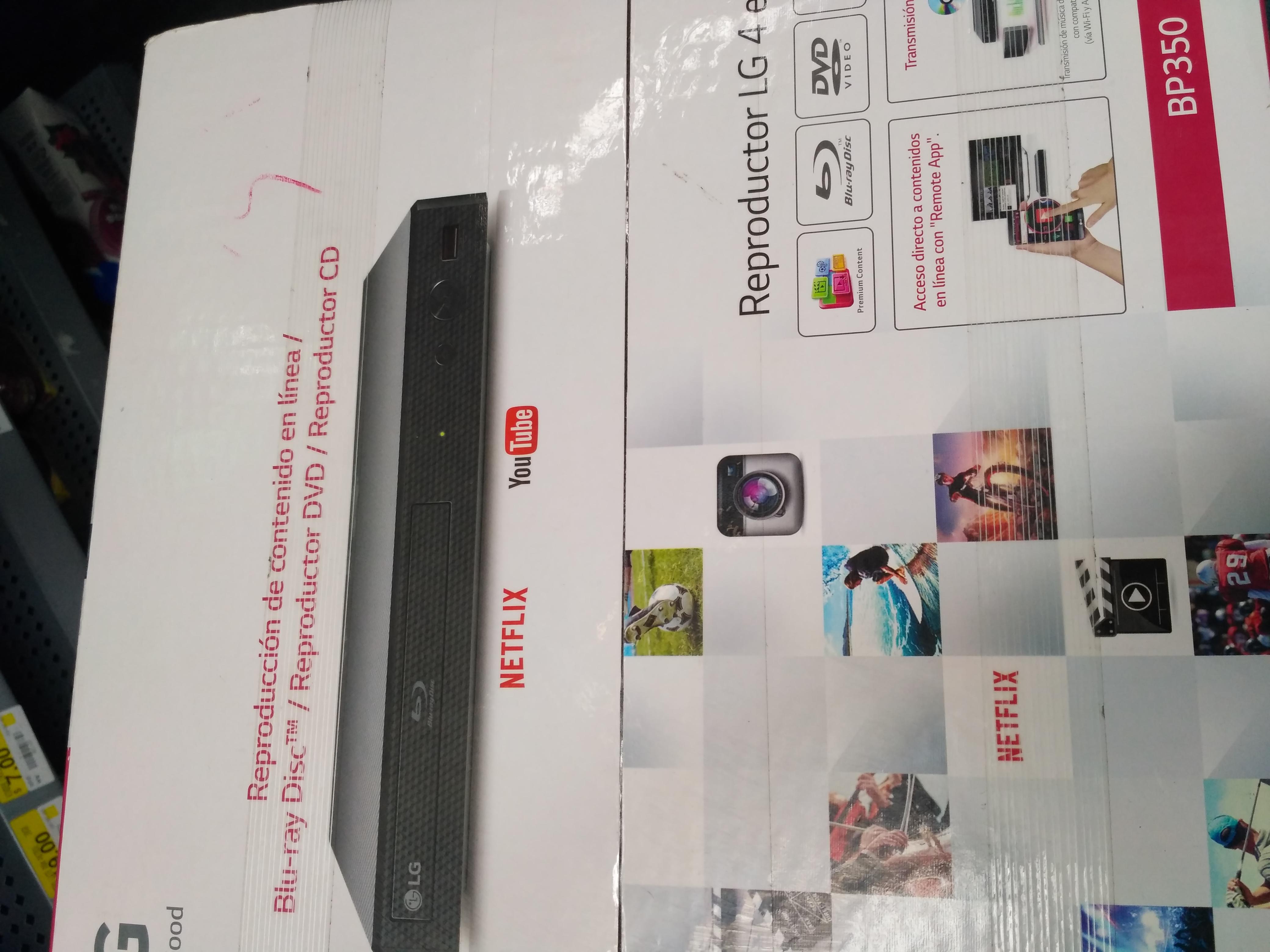 Bodega Aurrerá: Reproductor Blu Ray LG BP350 en $399.02