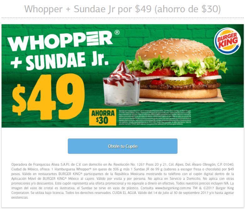 Burger King: Hamburguesas para el hambre con todo y postre por $49