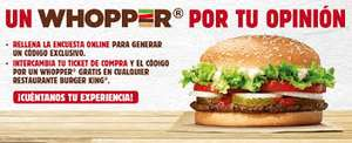 Burger King: HAMBURGUESA WOPPER GRANDE GRATIS al contestar encuesta
