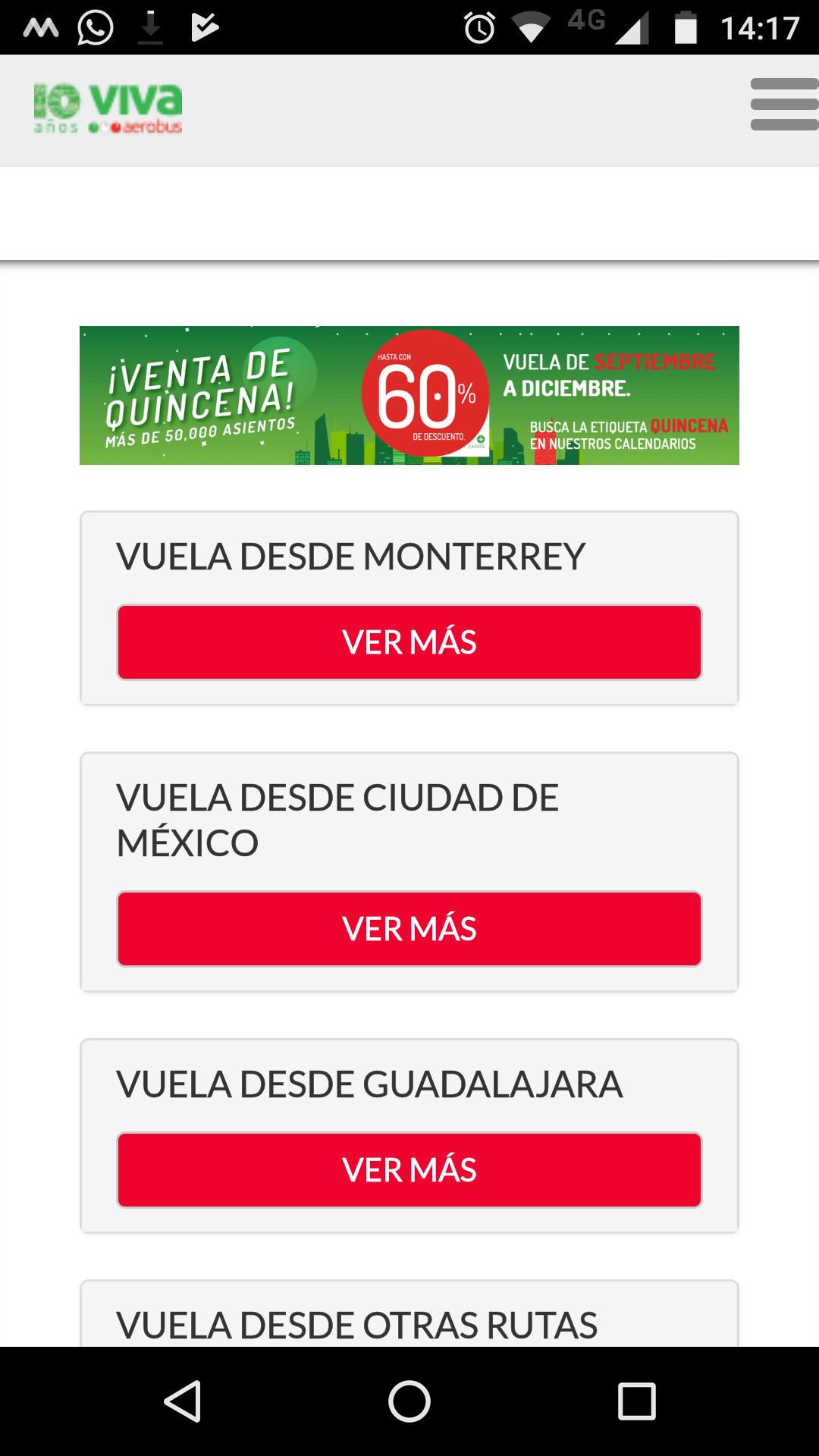 Vivaerobus: venta de quincena, Vuelos con descuento de hasta 60%
