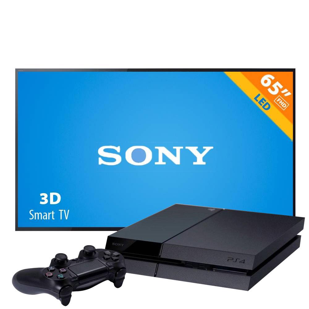 Smart TV Sony Bravia 480 Hz 1080p FHD 3D KDL-65W850A + PS4 500 GB