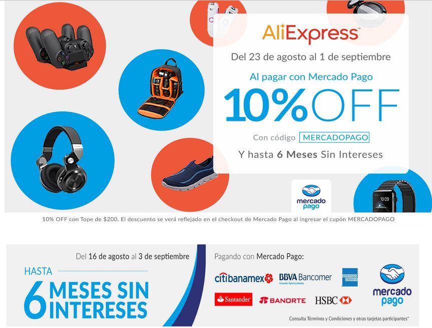 AliExpress: 10% de Descuento con Cupon y 6 MSI con Mercado Pago