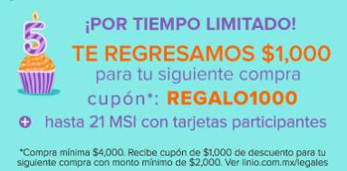 Linio: Cupón/cashback de $1,000 para tu siguiente compra, compra mínima de $4,000