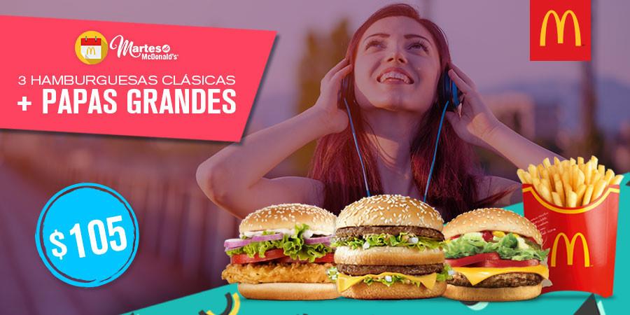 Martes de McDonald's: 3 hamburguesas clásicas + papas grandes a $105
