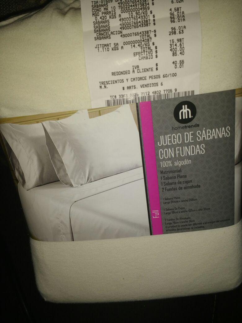 Walmart: Juego de sábanas con fundas 100%  algodón