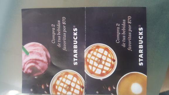 Starbucks: Compra 2 de tus bebidas x $70 (requiere cupón físico)