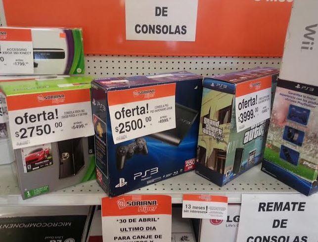 Soriana: PS3 250GB $2,499 y Xbox 360 250GB $2,750