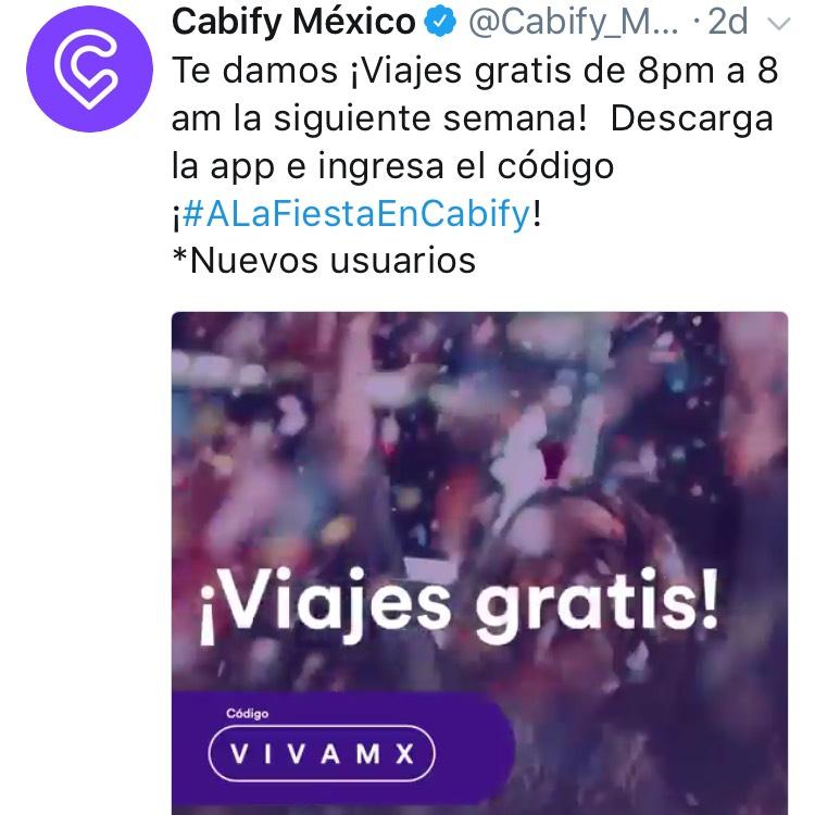 Cabify: Viajes gratis de 8pm a 8 am la siguiente semana (Nuevos Usuarios)