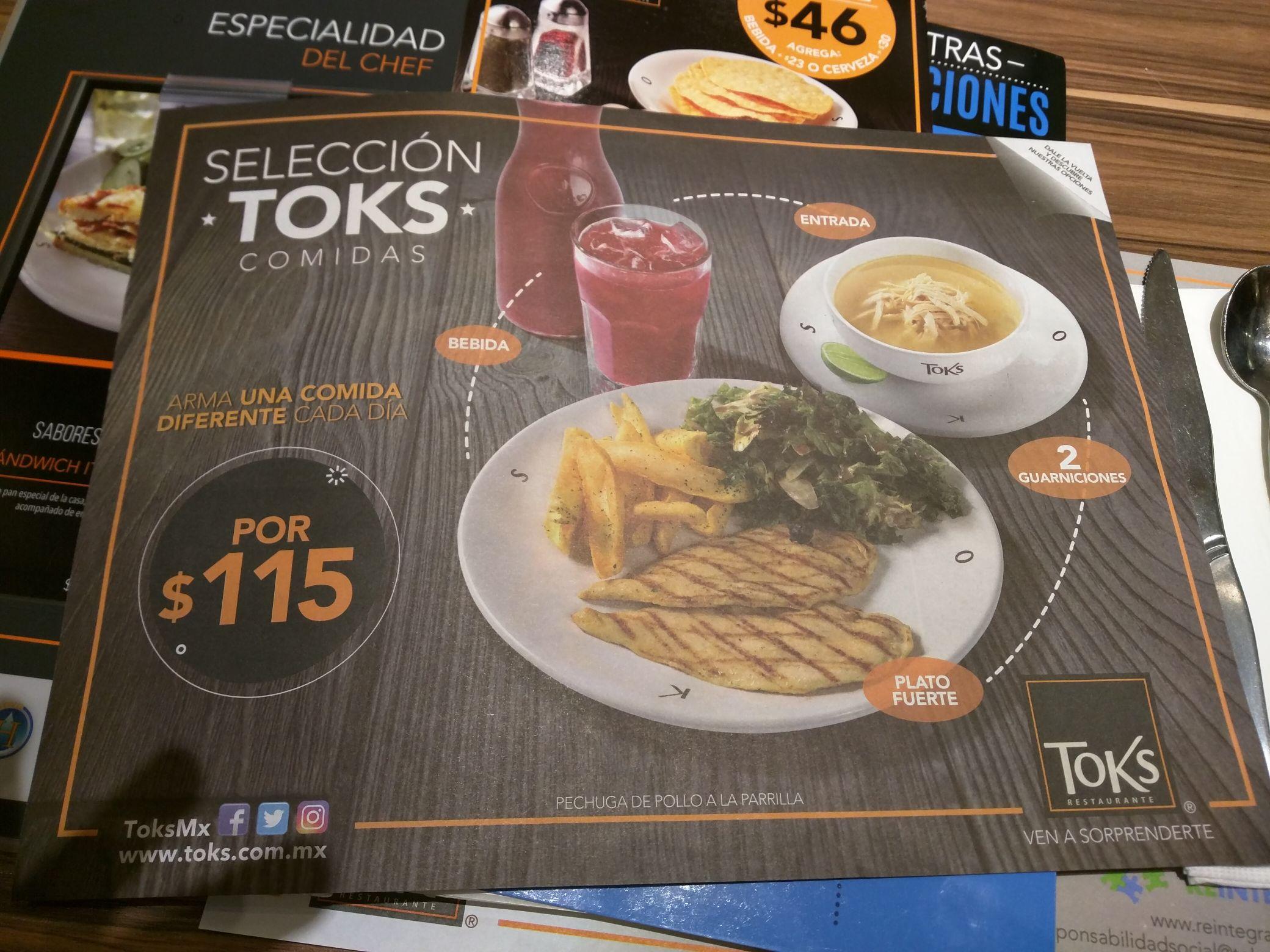 Toks Cuautitlán Izcalli: Selección comidas por $115