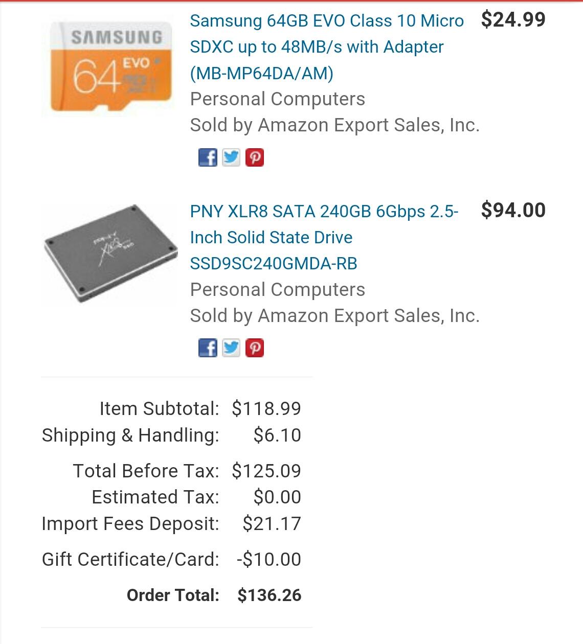 AMAZON: disco duro SATA pny XLR8 SSD 240GB 6GB/s  $1,685