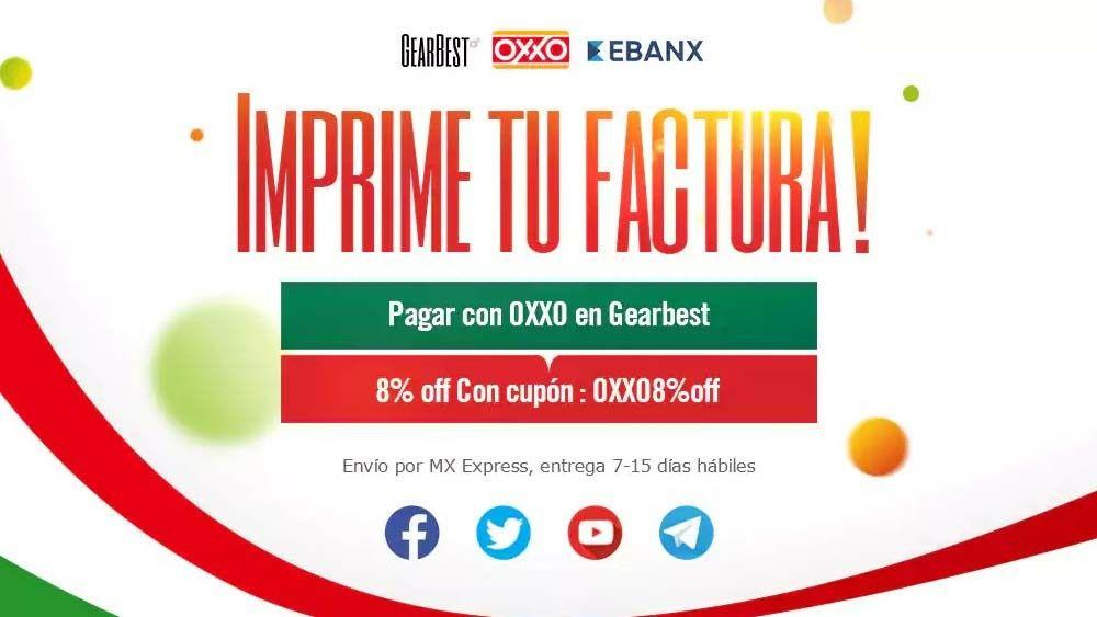 Gearbest: cupón 8% de descuento pagando con Oxxo y envío máximo 15 días