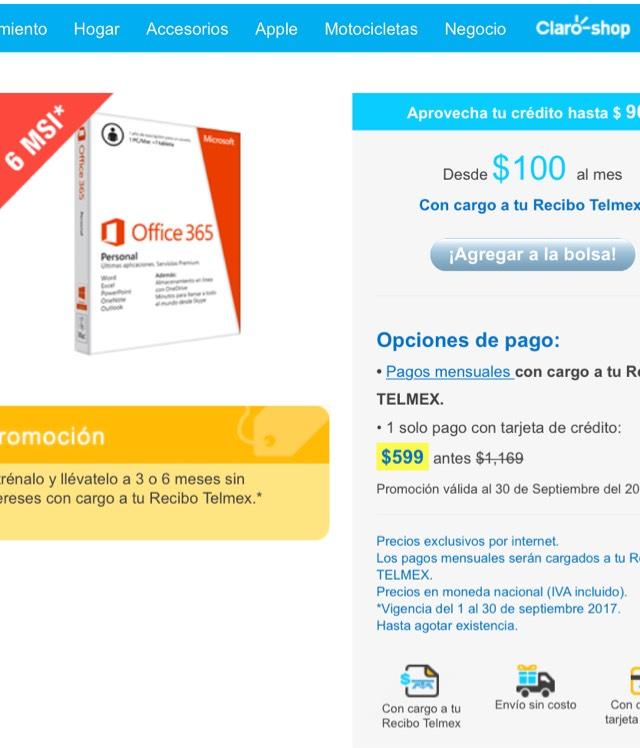 Tienda Telmex: Office 365 personal. 2 dispositivos