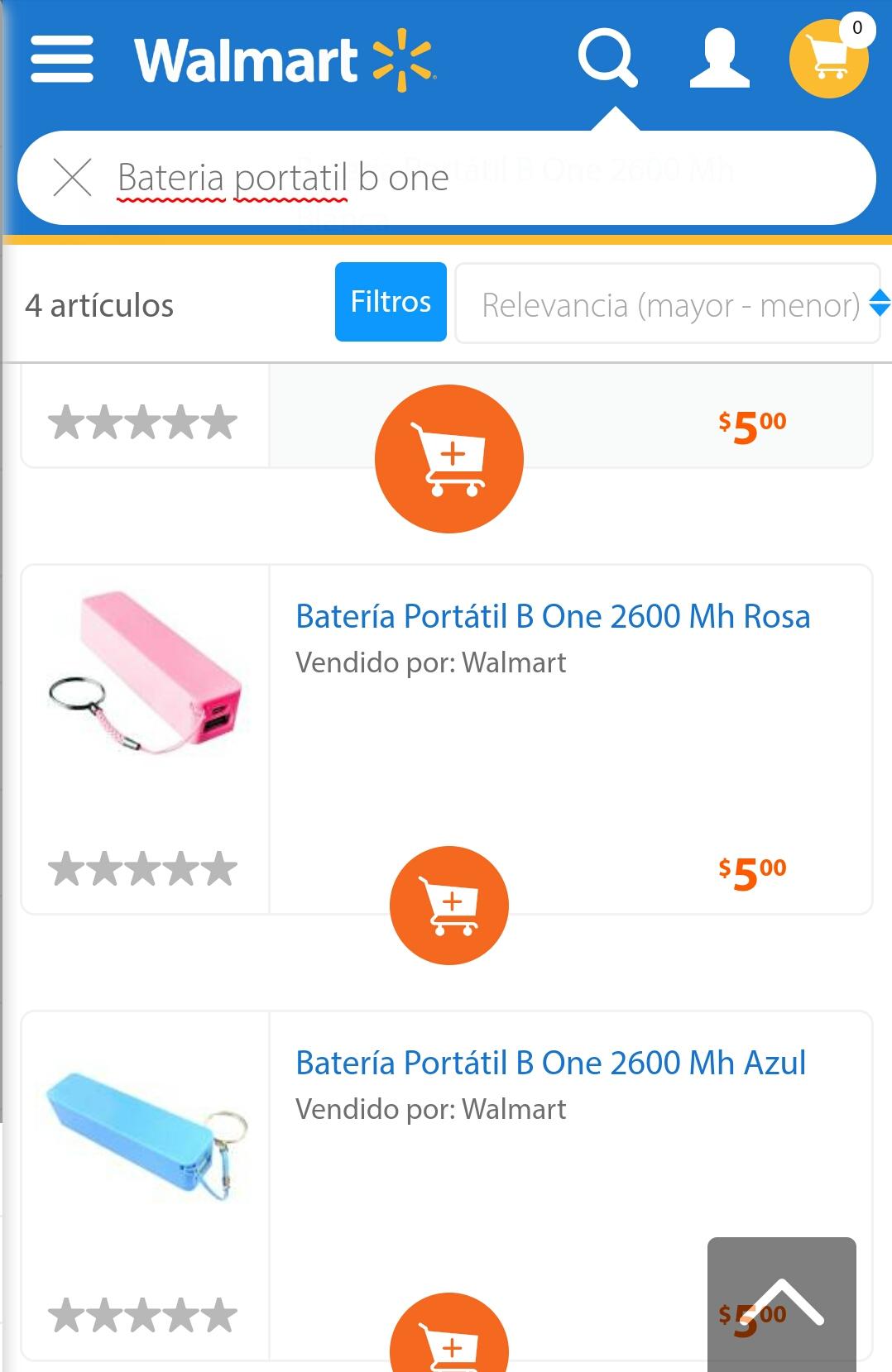 Walmart línea: Baterias 2600Mh solo $5