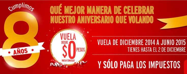 Vivaerobus promoción 8 aniversario: Cero Pesos Mas Impuestos