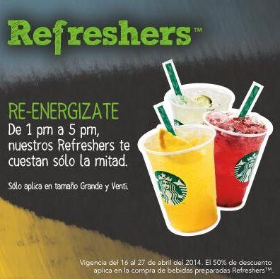 Starbucks: Refreshers a mitad de precio de 1 a 5
