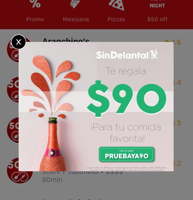 Descuento de $90 en SinDelantal