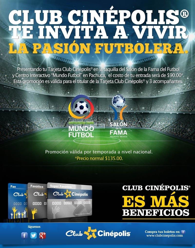 """Precio especial para El salón de la fama del fútbol y centro interactivo """"Mundo Fútbol"""" PACHUCA."""