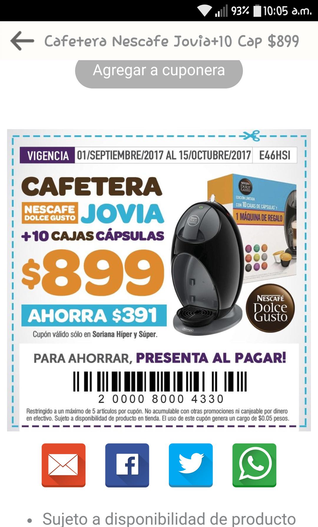 Soriana Soriticket: Cafetera Jovia + 10 cajas de capsulas $899