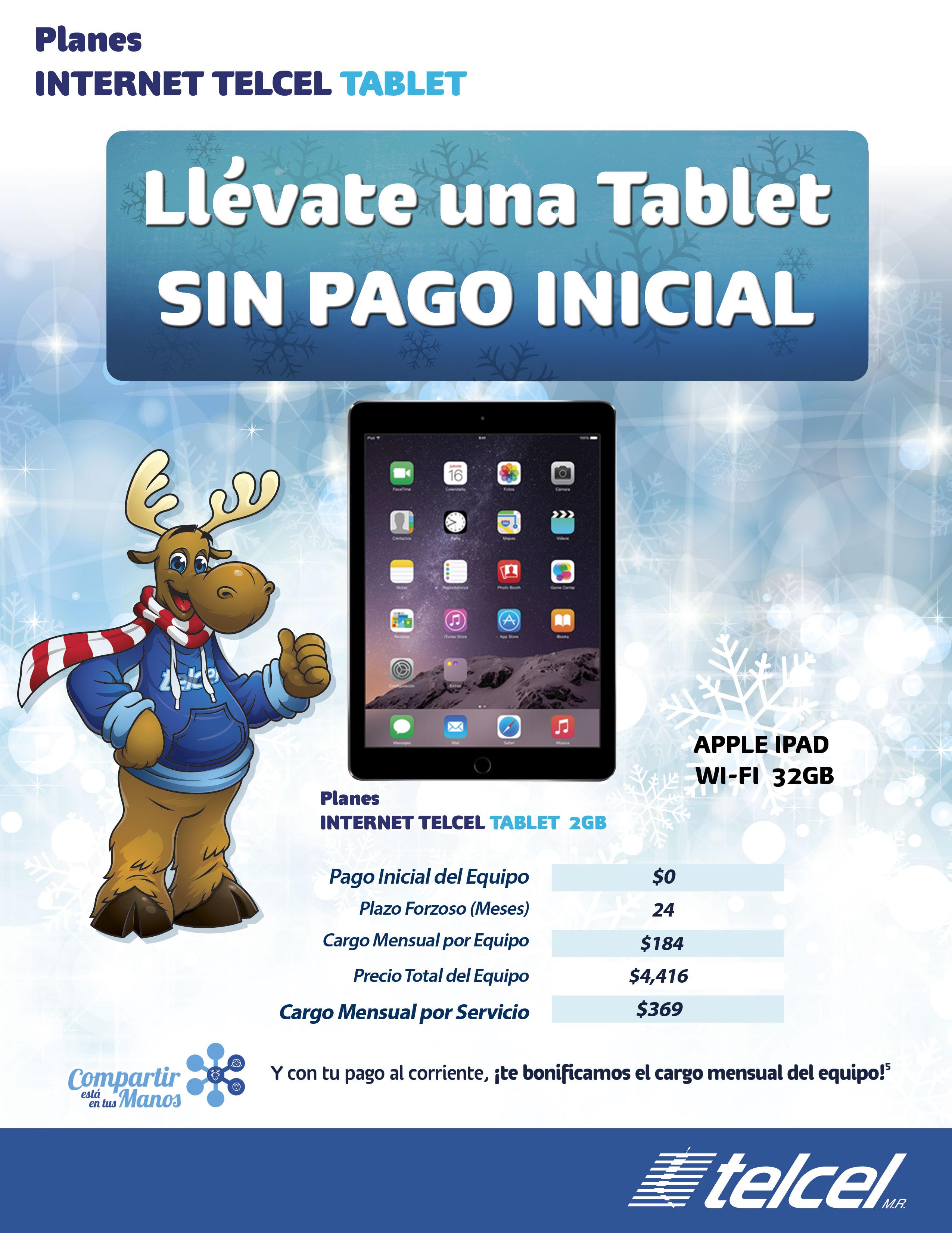Telcel: iPad 32GB $0 en plan Telcel Internet Tablet de 2GB a 24 meses ($369 al mes)
