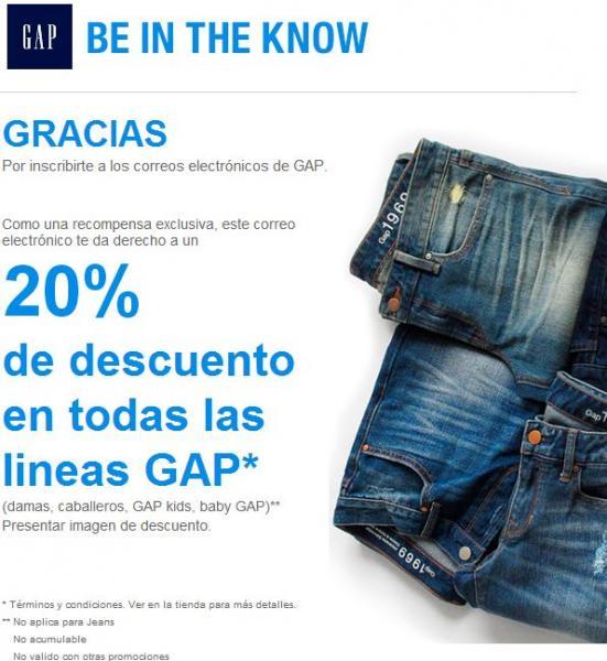Gap: 20% de descuento al registrarte a su newsletter