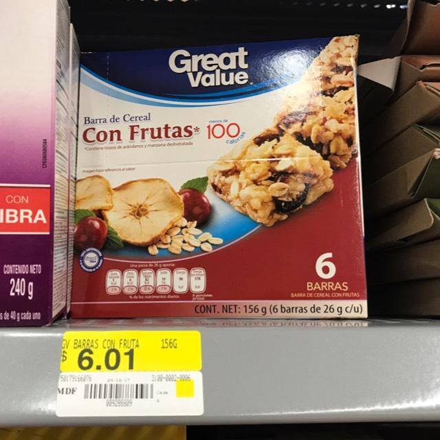 Walmart Plaza Aragón: Barras de cereal GV $6.01