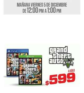 Gamers: GTA V para PS4 Y Xbox One $599, FIFA 15 Xbox One $499 y más por 60 minutos