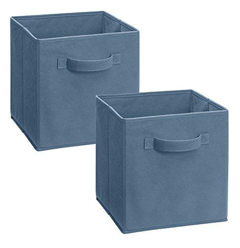 Amazon: Cajón de tela color azul mezclilla  paquete de 2
