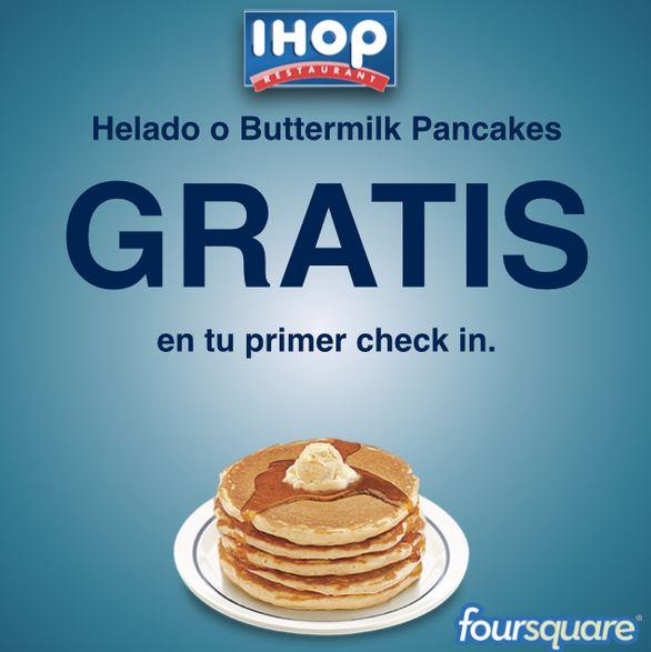 IHOP: gratis helado o buttermilk pancakes haciendo check in