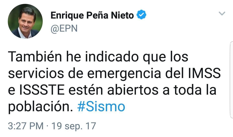 Peña Nieto: IMSS e ISSSTE abiertos para todos.