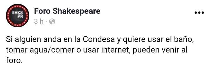 Foro Shakespeare: Baño, agua, comida, internet.
