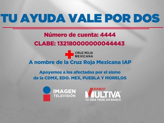 ¡VAMOS A AYUDAR!  #FUERZAMEXICO, Imagen Televisión y Banco Multiva sumarán un peso a cada peso que tú dones