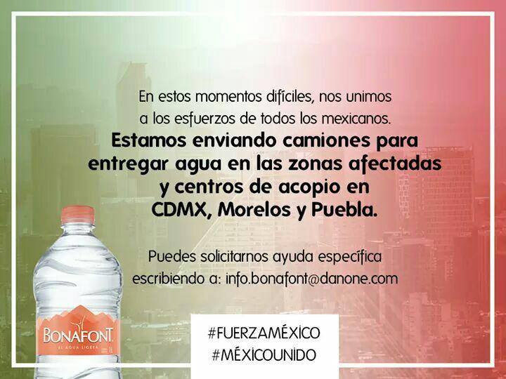 Bonafont unidos:. CDMX, MORELOS, Puebla, entrega de agua a centros de acopio
