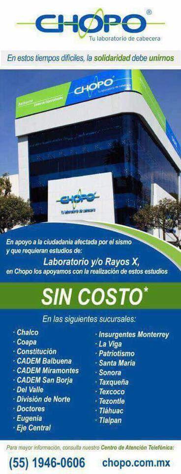 Chopo: laboratorios y Rayos X GRATIS a personas afectadas por sismo