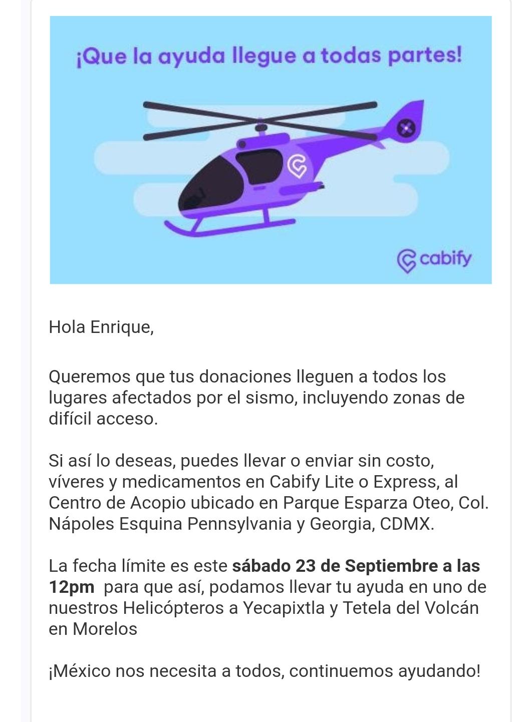 Cabify: envía donativos en helicoptero.