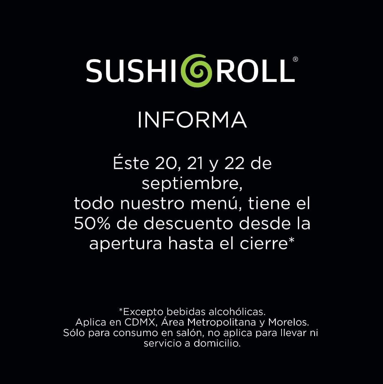 Sushi Roll: 50% de descuento en todo el menú