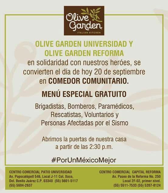 Olive Garden: Comedor comunitario gratis compartan porfavor