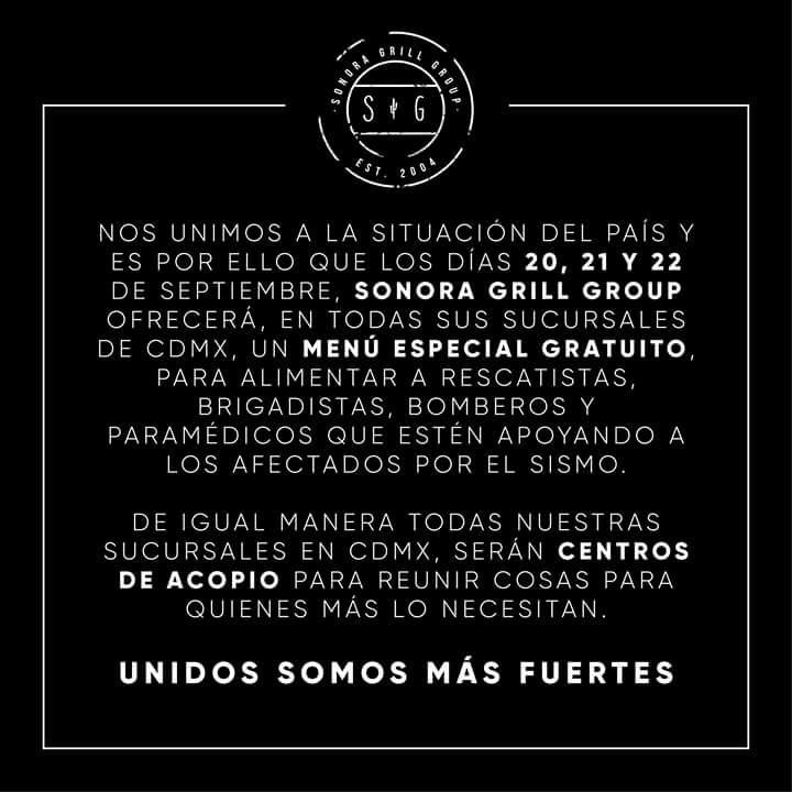 Sonora Grill: Menú Especial Gratuito a rescatistas y centros de acopio