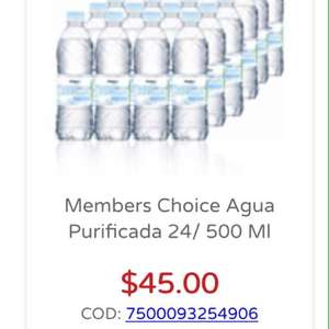 City Club: Agua paquete a $45 24 botellas de 500ml