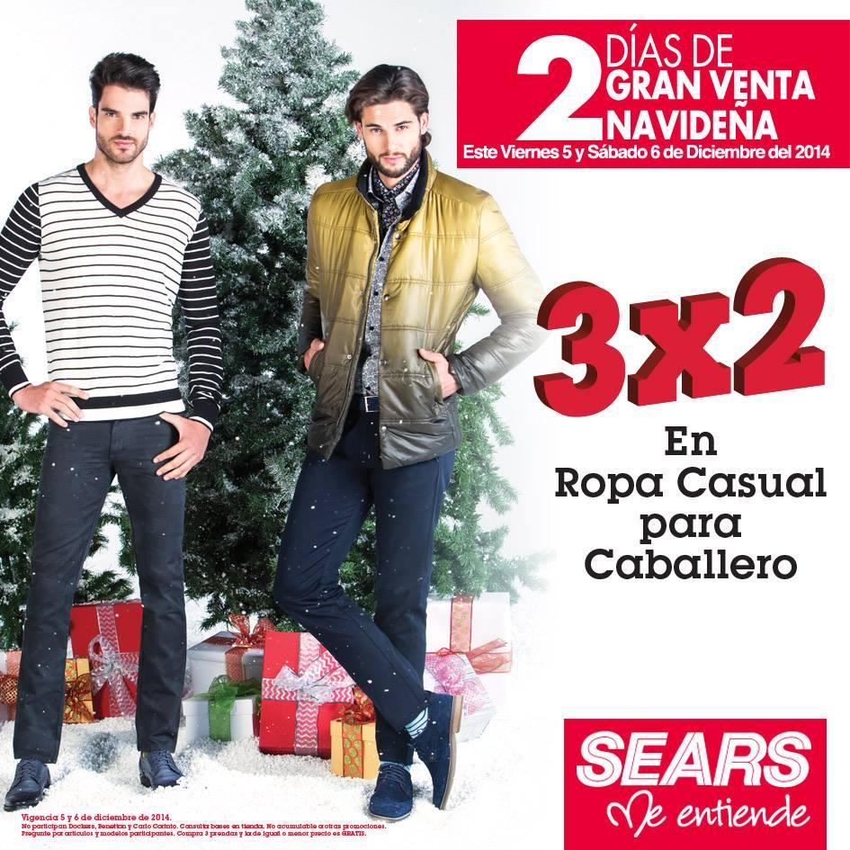 Sears Gran Venta Navideña: 3x2 en Ropa Casual para Caballero
