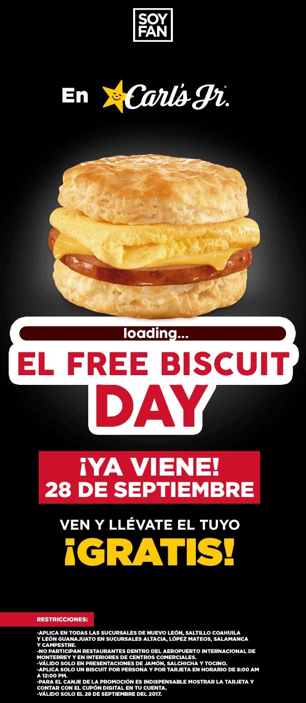 Carl's Jr: Biscuit Gratis 28 de Septiembre con tarjeta Soy Fan (Nuevo Leon, Coahuila y Guanajuato)