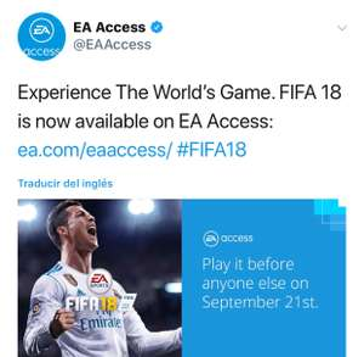 EA Access/Microsoft: Prueba el juego completo Fifa 18 para Xbox one si cuentas con EA Access