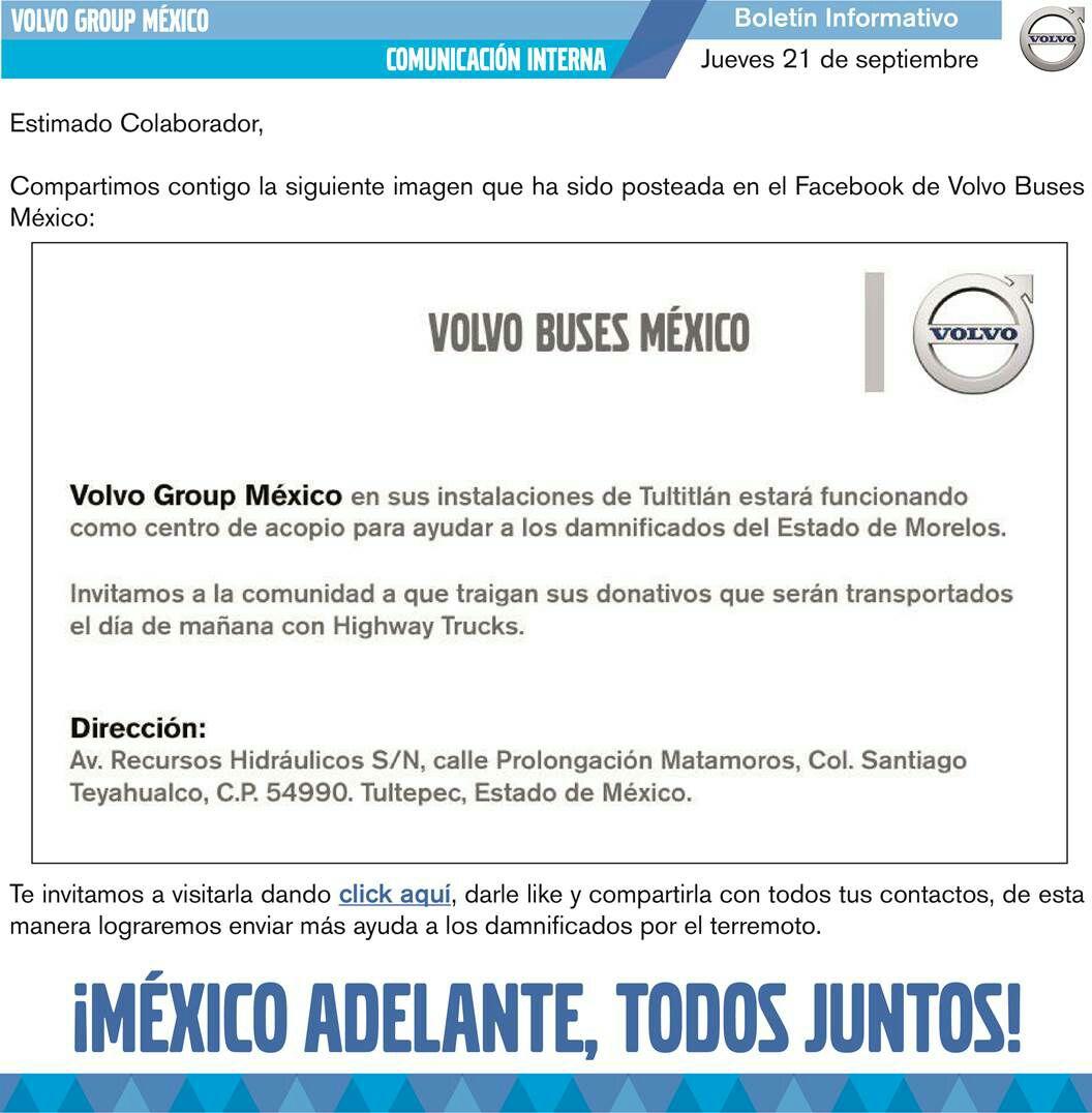Volvo Tultitlán enviara ayuda a Morelos