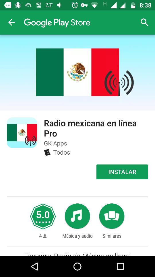 """Google Play: GRATIS   """"Radio mexicana en línea Pro""""."""