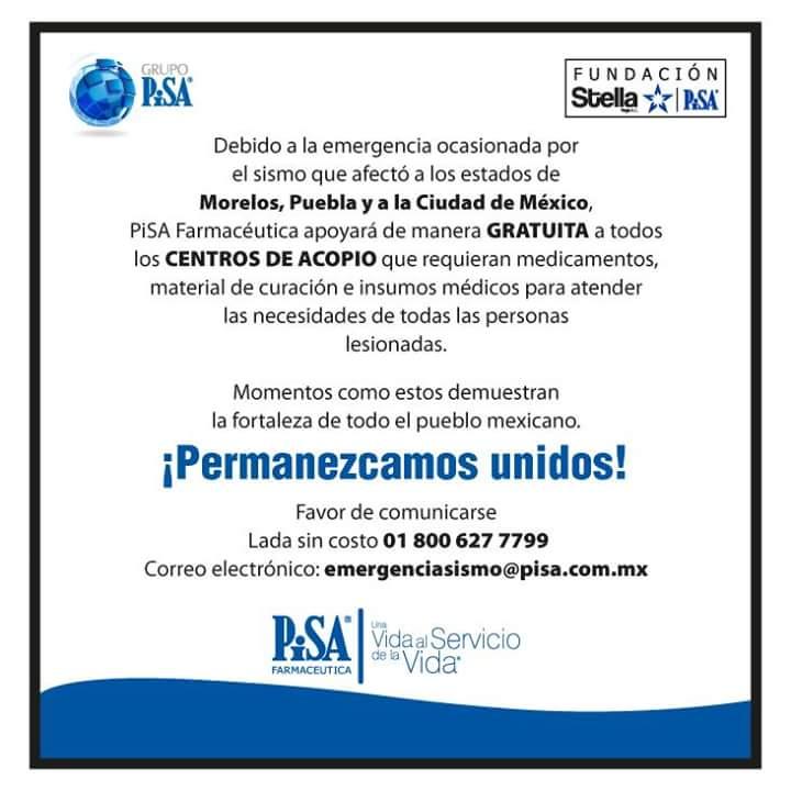 Pisa Farmacéutica: está ayudando a todos los centros de acopio que necesiten material de curación, insumos médicos y medicamentos