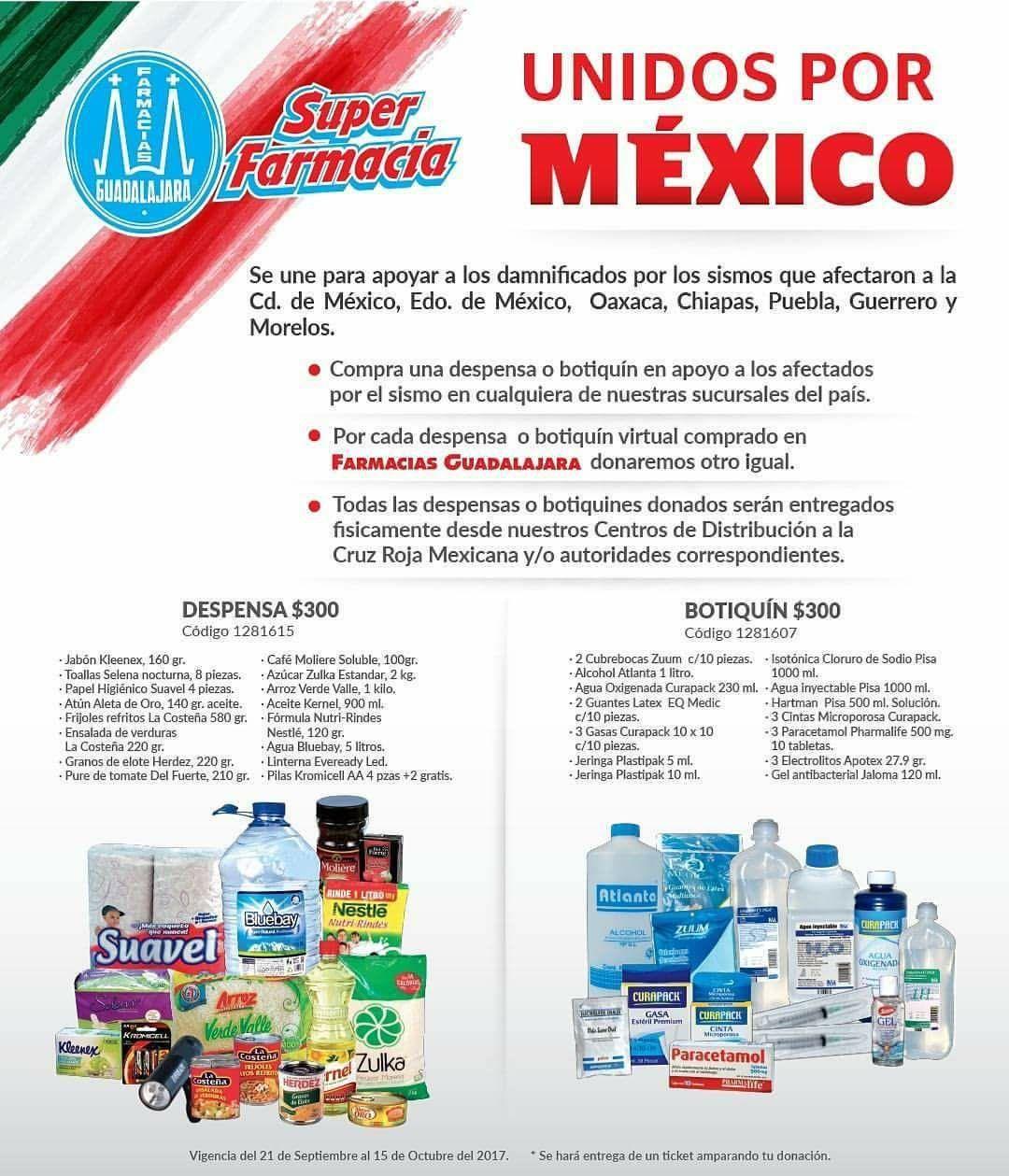 Farmacias Guadalajara: por cada botiquín y despensa que compres para apoyar a los damnificados por el sismo, ellos donaran otro igual