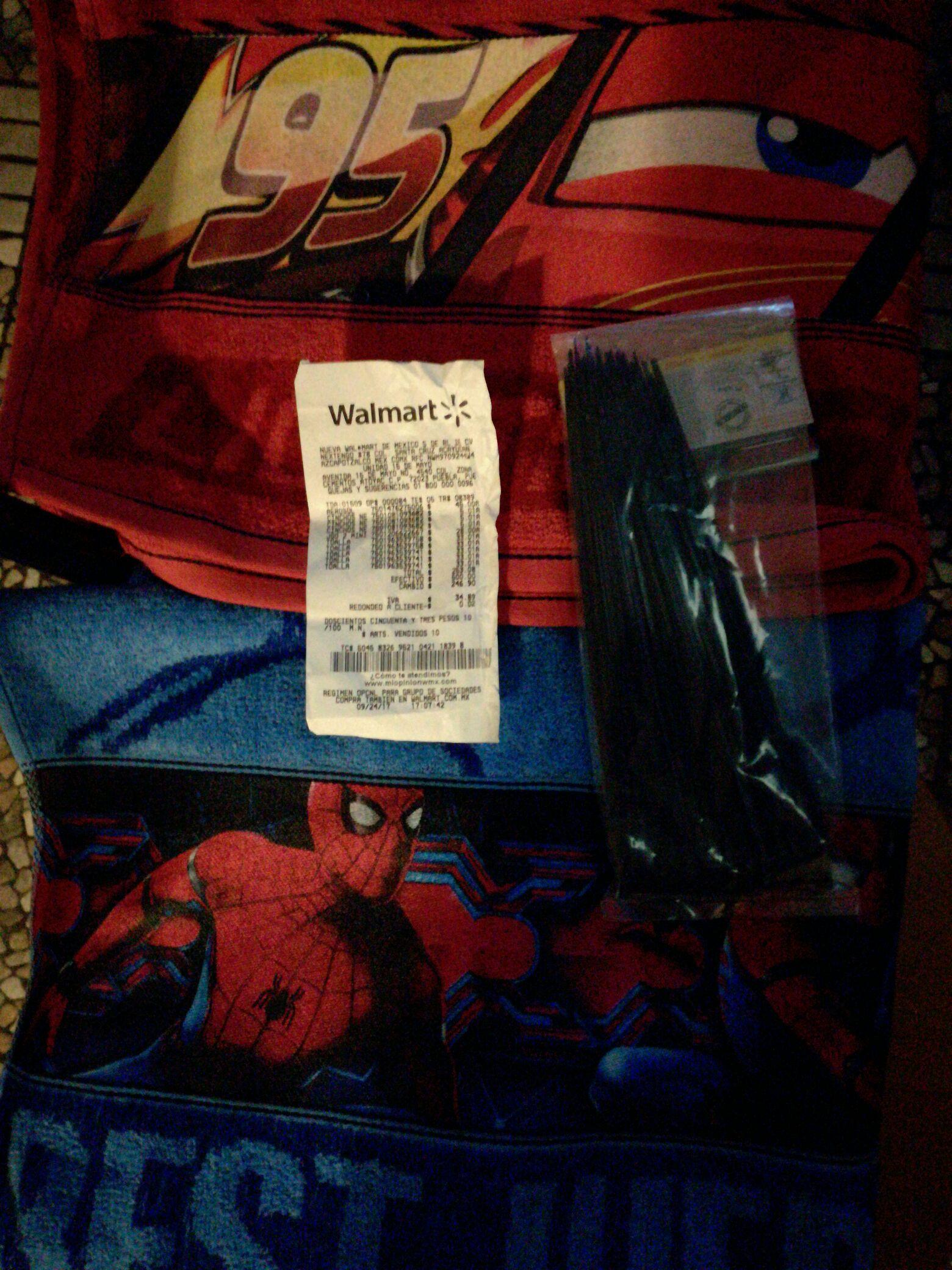 Walmart 15 de Mayo Puebla: Toallas de Cars y el Hombre Araña en $33 y cinchos en $5