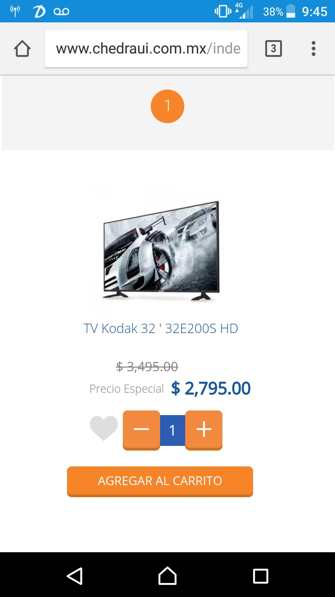 """Chedraui: Pantalla Led Kodak 32"""" HD, precio publicado usando cupón"""