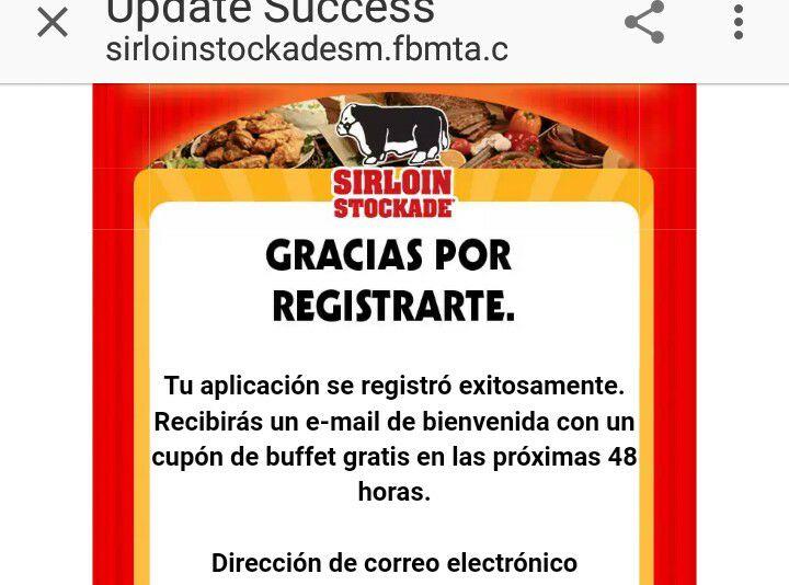 Sirloin Stockade MTY: Buffete Gratis al registrarte en su pagina